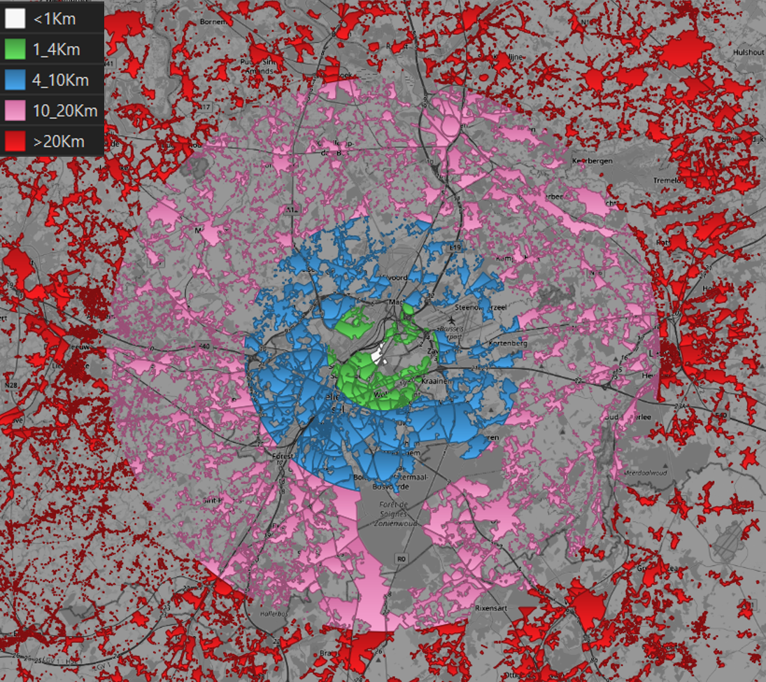 Distance-based classification of Residential areas around schools in Bordet in Brussels.