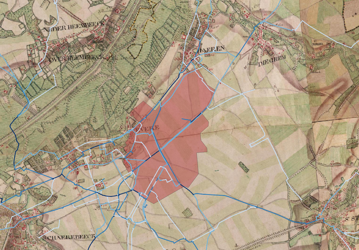 Cycling routes and their counts on the 1770s Ferraris map.