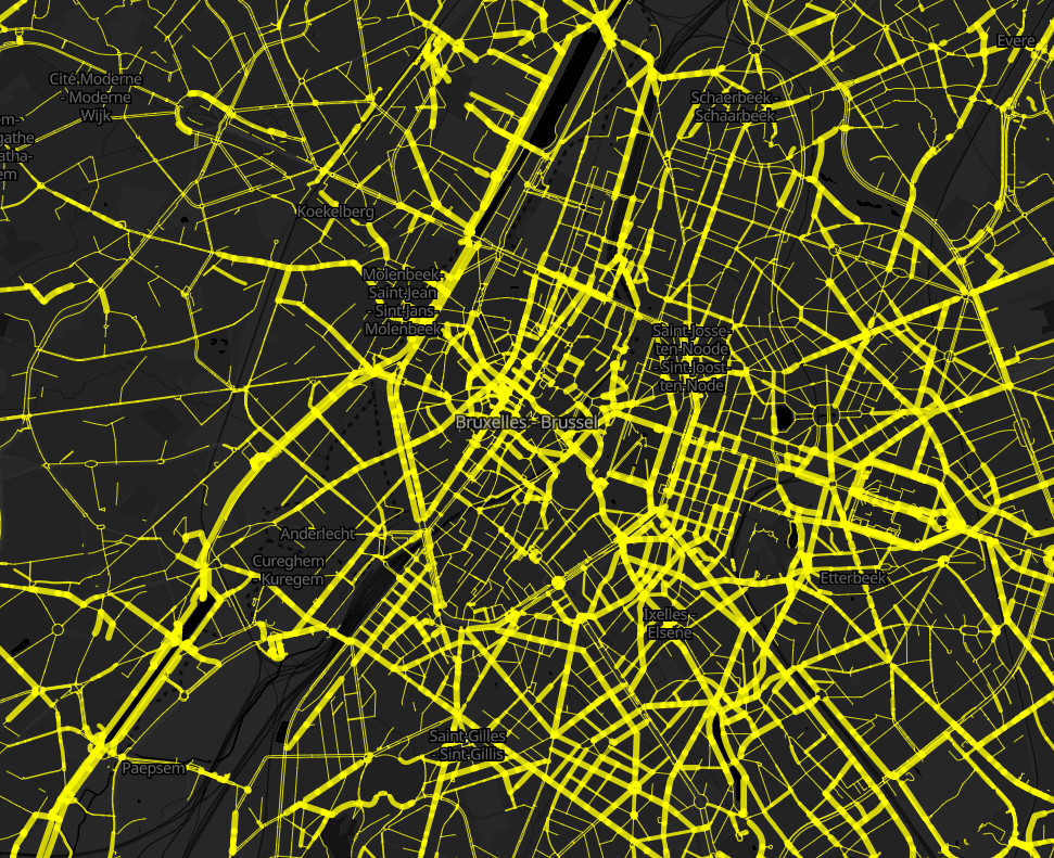 Aggregated bicycle counts in Brussels.